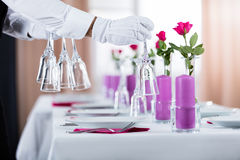 Waiter Setting Wedding Table Stock Photography