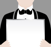 Waiter with Sign Stock Image
