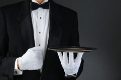 Waiter With Silver Tray Stock Image