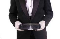Waiter and Silver Tray royalty free stock photo