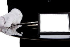 Waiter with a silver tray with a blank card royalty free stock images