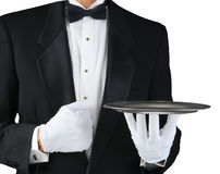 Waiter With Silver Tray royalty free stock image