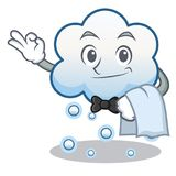 Waiter snow cloud character cartoon Royalty Free Stock Images