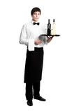 Waiter sommelier with bottles. Waiter sommelier with bottle of red white wine and stemware glass on tray Stock Images