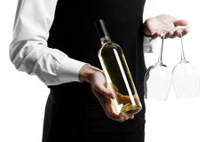 Waiter sommelier with wine bottle. Sommelier Waiter with bottle of red wine and stemware glass isolated Royalty Free Stock Images