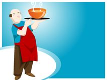 Waiter with soup. Waiter with hot soup on gradient background Stock Image