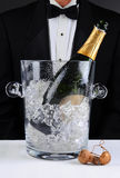 Waiter Standing Behind A Champagne Bucket Stock Images