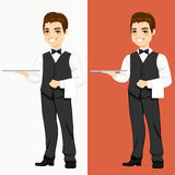 Waiter Standing With Empty Tray Royalty Free Stock Image