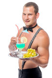 Waiter stripper with a glass of cocktail. On a tray Stock Image