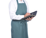Waiter Taking an Order. Isolated over white - torso only Stock Photo