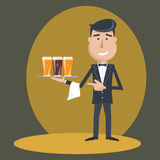 Waiter with three glasses of beer. Royalty Free Stock Image