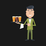 Waiter with three glasses of beer. Stock Images