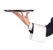 Waiter with tray. Waiter with a silver plate .Isolated on a white background Stock Images