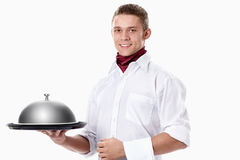 Waiter with tray Royalty Free Stock Images