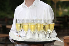 Waiter with a tray of champagne flutes Royalty Free Stock Photography