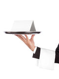 Waiter with tray and empty card