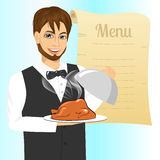 Waiter with tray serving roasted poultry. Portrait of young handsome waiter with tray serving roasted poultry against blank retro scroll of menu Stock Image