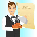 Waiter with tray serving roasted poultry. Portrait of young handsome waiter with tray serving roasted poultry against blank retro scroll of menu Royalty Free Stock Photos