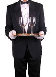 Waiter and Tray with Wine Glasses Royalty Free Stock Photos