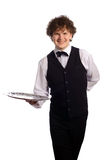 Waiter with tray. Young handsome waiter with tray, isolated on white Stock Photo