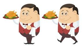 Waiter with Turkey, Seamless Loop stock video footage