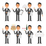Waiter in various poses Stock Photography
