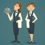 Waiter and waitress character design, vector cartoon illustration Royalty Free Stock Photography
