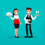 Waiter and waitress restaurant. Vector illustration. Of a flat design Stock Images