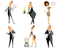 Waiter and waitress set Royalty Free Stock Photo