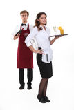 Waiter and waitress. Starting shift Royalty Free Stock Photo