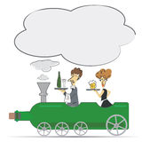 Waiter and waitress on the Wine bottle locomotive. Royalty Free Stock Image