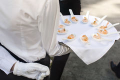 Waiter walking with appetizers Stock Photos