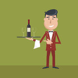 Waiter with wine bottle and wine glass. Royalty Free Stock Images