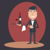 Waiter with wine bottle and wine glass. Stock Images