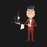 Waiter with wine bottle and wine glass. Royalty Free Stock Photography