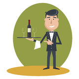 Waiter with wine bottle and wine glass. Stock Photos