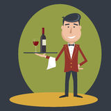 Waiter with wine bottle and wine glass. Stock Photo