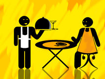 Waiter and woman client. Waiting at a table illustration Stock Image