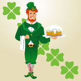 The waiter a young guy in a suit of St. Patrick. Festive  illustration in cartoon style Royalty Free Stock Photo