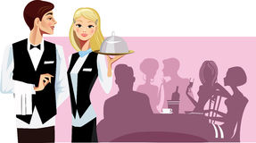 Waiters. Vector illustration of a man and woman waiters Royalty Free Stock Photos