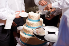 Waiters and Cake Royalty Free Stock Photography