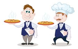 Waiters deliver a hot pizza. Cartoon waiters deliver a delicious hot pizza to the client, isolated on white background stock illustration
