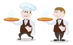 Waiters deliver a hot pizza Stock Image