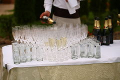 Waiters poured champagne Stock Photo