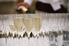 Waiters poured champagne Stock Photos