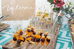Waiters poured into glasses of wine and champagne Royalty Free Stock Photo