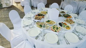 The waiters put on the table plates of food. Preparation for the event stock footage