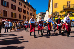 Waiters Race Run Old Town Annecy H Stock Photos
