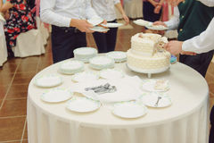Waiters Serving Wedding Cake Stock Photos