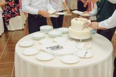 Waiters Serving Wedding Cake Stock Photos